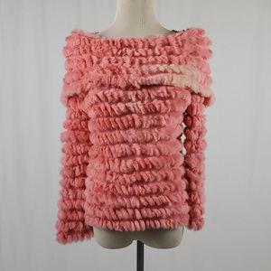 BCBG/ Rabbit  Fur Off the Shoulder Sweater